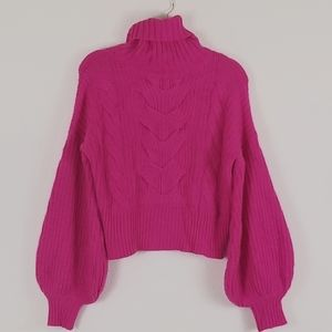 FASHION NOVA HOT PINK CABLE KNIT SWEATER , XS